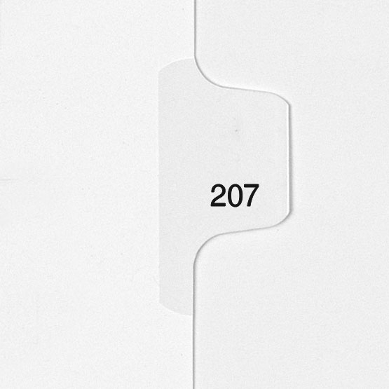 207 - All-State Style Letter Size Individual Number Side Tab Legal Indexes - 25pk (HCM180207) - $4.75 Image 1