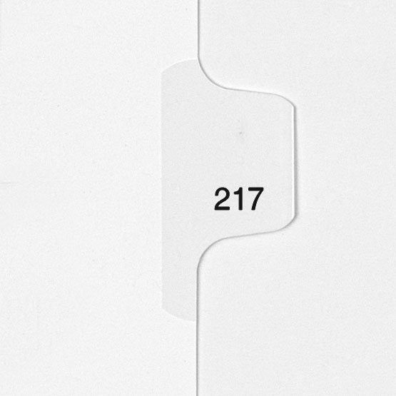 217 - All-State Style Letter Size Individual Number Side Tab Legal Indexes - 25pk (HCM180217) - $4.75 Image 1
