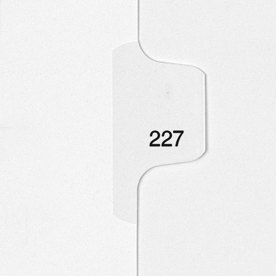 227 - All-State Style Letter Size Individual Number Side Tab Legal Indexes - 25pk (HCM180227) - $4.75 Image 1