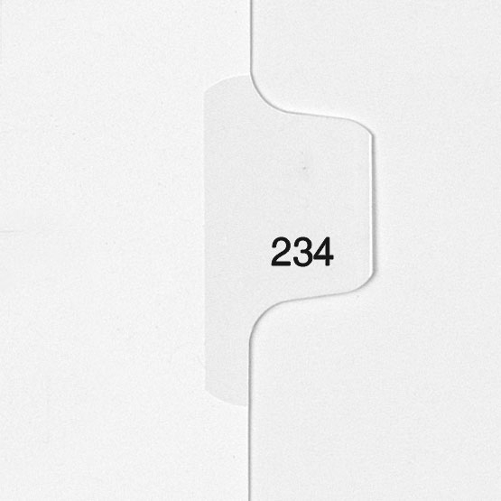 234 - All-State Style Letter Size Individual Number Side Tab Legal Indexes - 25pk (HCM180234) Image 1