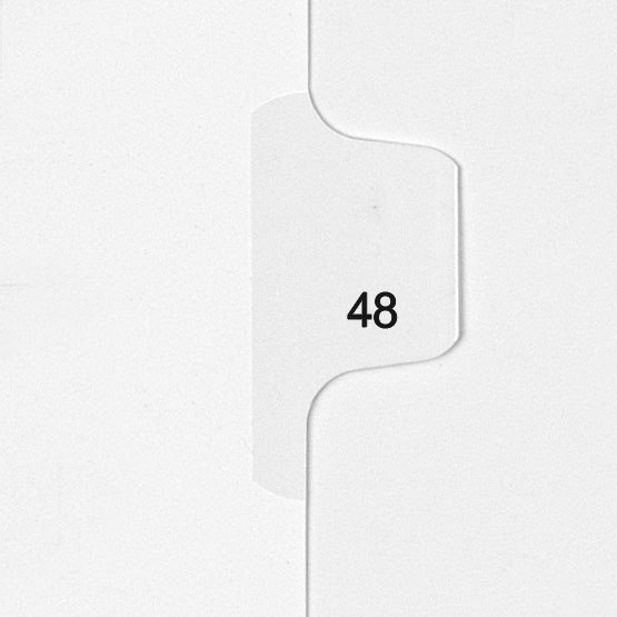 48 - All-State Style Letter Size Individual Number Side Tab Legal Indexes - 25pk (HCM180048), Index Dividers Image 1