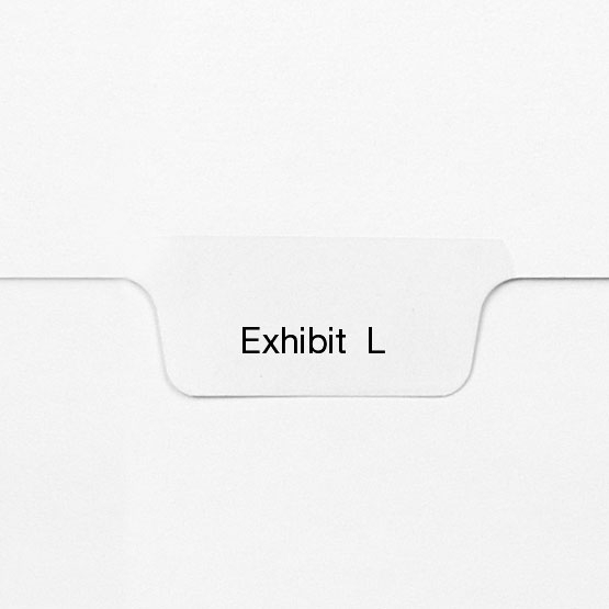 EXHIBIT L - All-State Style Letter Size Bottom Tab Legal Indexes - 25pk (HCM127789) Image 1
