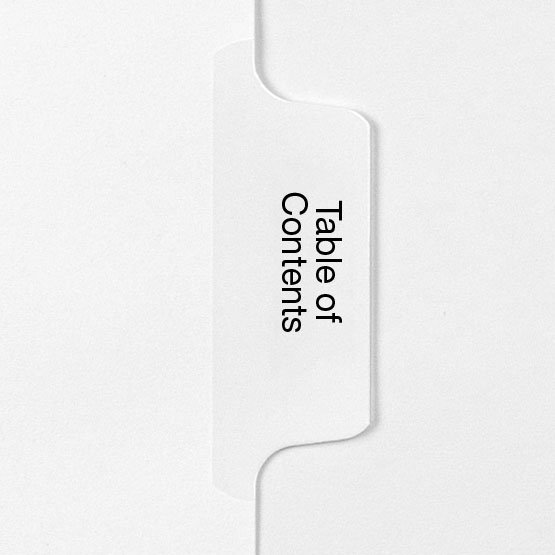TABLE OF CONTENTS - All-State Style Letter Size Side Tab Legal Indexes - 25pk (HCM158953), Index Dividers Image 1