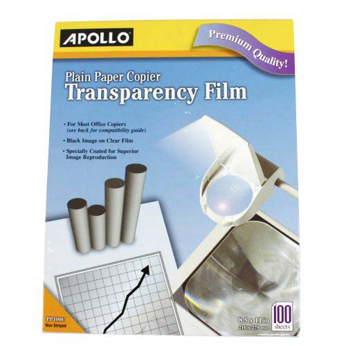 Quartet Apollo Plain Paper Copier Transparency Film Without Stripe (APO-PP100CE) Image 1