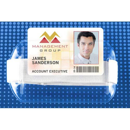 "Arm Band Horizontal Vinyl Badge Holder w/ White Strap (3-3/8""x2-3/8"") - 25pk (MYBP504AR1W) Image 1"