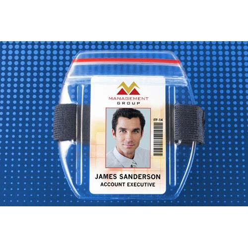 Arm Band Vertical Vinyl Badge Holder w/ Zipper Closure - Blue Strap - 25pk (MYBP504ARZB) Image 1