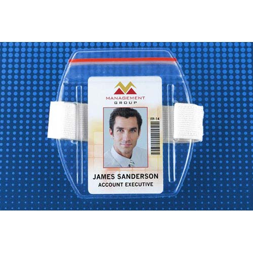 Arm Band Vertical Vinyl Badge Holder w/ Zipper Closure - White Strap - 25pk (MYBP504ARZW) Image 1