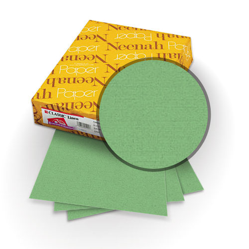 "Neenah Paper Classic Linen Augusta Green 9"" x 11"" 80lb Covers with Windows - 25 Sets (MYCLINAGRW9X11) Image 1"