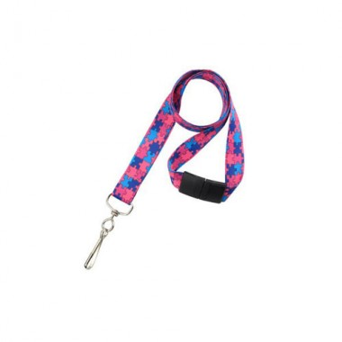Autism Awareness Lanyard - Pink/Blue - 100pk (MYID21385281) Image 1