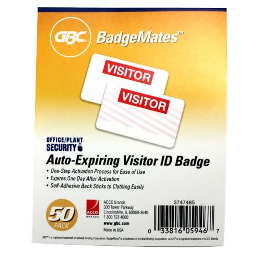 GBC Auto-Expiring Visitor ID Badge BadgeMates 50pk (3747485) - $3.29 Image 1