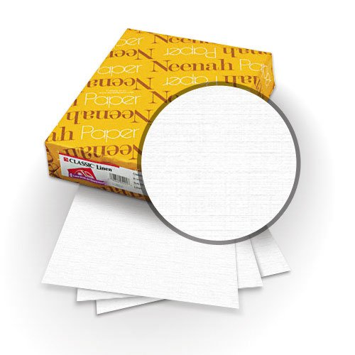 """Neenah Paper Classic Linen Avalanche White 8.5"""" x 11"""" 80lb Covers with Windows - 25 Sets (MYCLINAWW8.5X11) Image 1"""