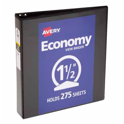 "Avery 1-1/2"" Black Economy View Round Ring Binders 12pk (AVE-05771) Image 1"