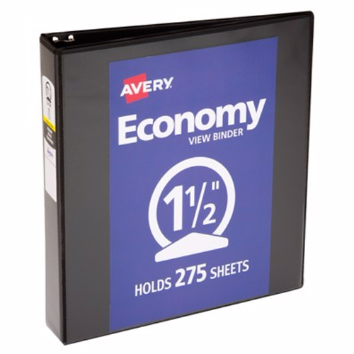 "Avery 1-1/2"" Black Economy Round Ring View Binders 12pk (AVE-05725) Image 1"