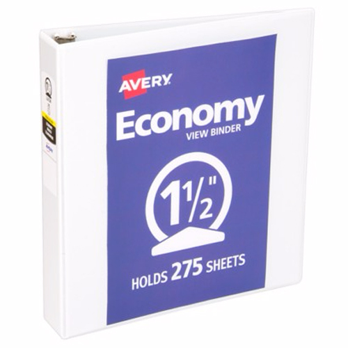"Avery 1-1/2"" White Economy Round Ring View Binders 12pk (AVE-05726) Image 1"