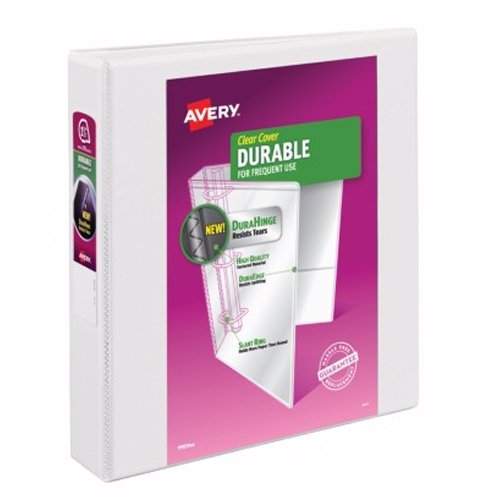 "Avery 1-1/2"" White Durable Slant Ring View Binders 12pk (AVE-17022) Image 1"