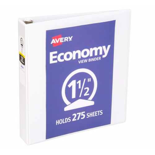 "Avery 1-1/2"" White Economy View Round Ring Binders 12pk (AVE-05770) Image 1"