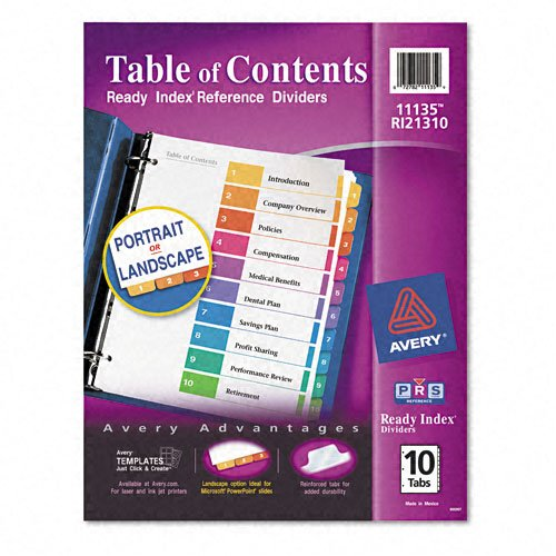 "Avery 1-10 tab 11"" x 8.5"" Contemporary Multicolor Dividers (AVE-11135) - $2.79 Image 1"