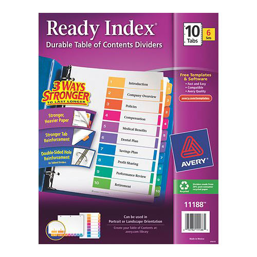 "Avery 1-10 tab 11"" x 8.5"" Contemporary Multicolor Dividers 6pk (AVE-11188) - $22.4 Image 1"