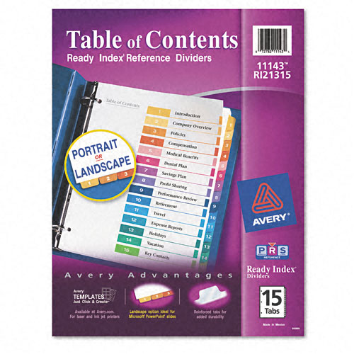 "Avery 1-15 tab 11"" x 8.5"" Contemporary Multicolor Dividers (AVE-11143) - $3.31 Image 1"