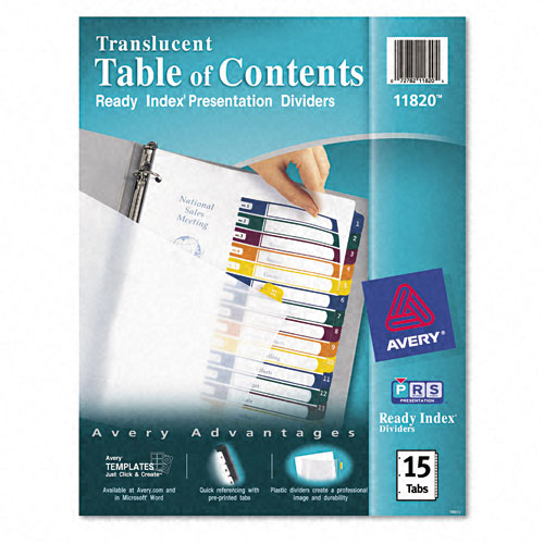 "Avery 1-15 tab 11"" x 8.5"" Translucent Multicolor Dividers (AVE-11820) - $12.68 Image 1"