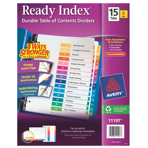 "Avery 1-15 tab 11"" x 8.5"" Contemporary Multicolor Dividers 6pk (AVE-11197) Image 1"