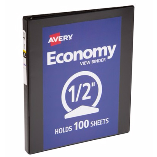 "Avery 1/2"" Black Economy View Round Ring Binders 12pk (AVE-05751) Image 1"