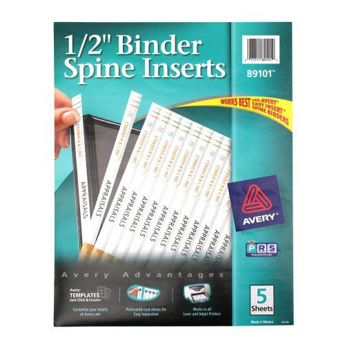 Avery 1 2 white binder spine inserts 1pk of 80 89101 for Half inch binder spine template