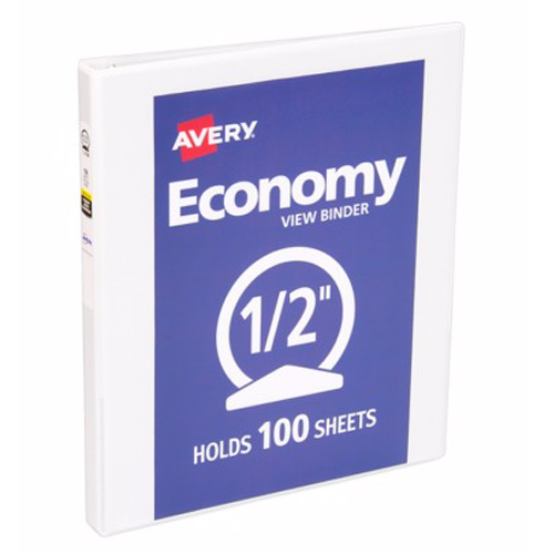 "Avery 1/2"" White Economy Round Ring View Binders 12pk (AVE-05706) Image 1"