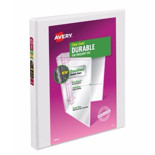 "Avery 1/2"" White Durable Slant Ring View Binders 12pk -17002 (AVE-17002) Image 1"