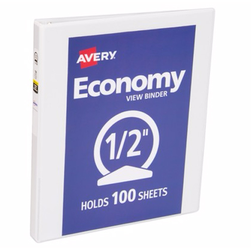"Avery 1/2"" White Economy View Round Ring Binders 12pk (AVE-05750) Image 1"