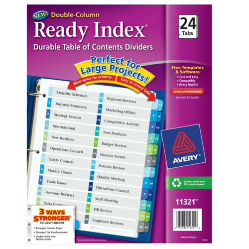 "Avery 1-24 tab 11"" x 8.5"" Double-Column TOC Dividers (AVE-11321) - $7.26 Image 1"