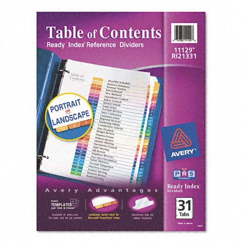 "Avery 1-31 tab 11"" x 8.5"" Contemporary Multicolor Dividers (AVE-11129) - $7.77 Image 1"