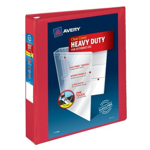 "Avery 1.5"" Red Heavy Duty View Binders with One Touch EZD Ring 12pk (AVE-79171) Image 1"
