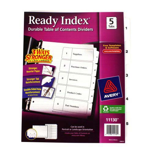 "Avery 1-5 tab 11"" x 8.5"" Classic Black and White Dividers (AVE-11130) Image 1"