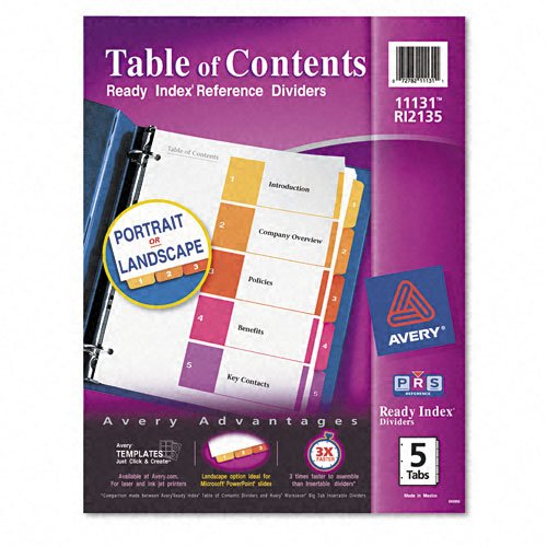 "Avery 1-5 tab 11"" x 8.5"" Contemporary Multicolor Dividers (AVE-11131) Image 1"