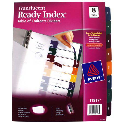 "Avery 1-8 tab 11"" x 8.5"" Translucent Multicolor Dividers (AVE-11817)"