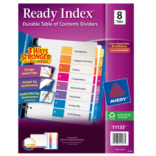 "Avery 1-8 tab 11"" x 8.5"" Contemporary Multicolor Dividers (AVE-11133)"