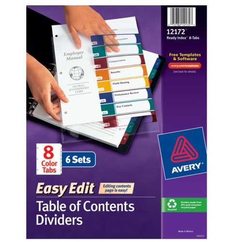 "Avery 1-8 tab 11"" x 8.5"" Easy Edit Multicolor TOC Dividers (AVE-12172)"
