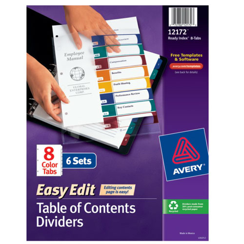 "Avery 1-8 tab 11"" x 8.5"" Easy Edit Multicolor TOC Dividers (AVE-12172) Image 1"