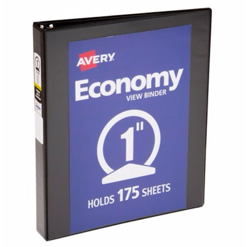 "Avery 1"" Black Economy Round Ring View Binders 12pk (AVE-05710) Image 1"