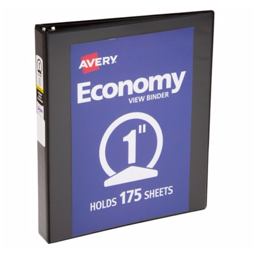 "Avery 1"" Black Economy View Round Ring Binders 12pk (AVE-05761) Image 1"