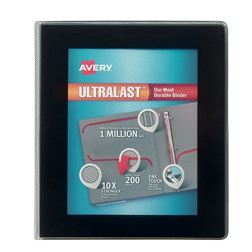 Avery Black UltraLast Heavy Duty View Binders with One Touch Slant Ring (AVE-BLKULHDVBOTSR) Image 1