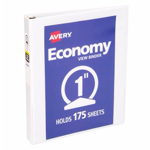 "Avery 1"" White Economy Round Ring View Binders 12pk (AVE-05711) Image 1"