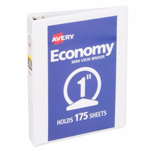 "Avery 1"" White Half Size Economy View Round Ring Binder 12pk (AVE-05806) Image 1"