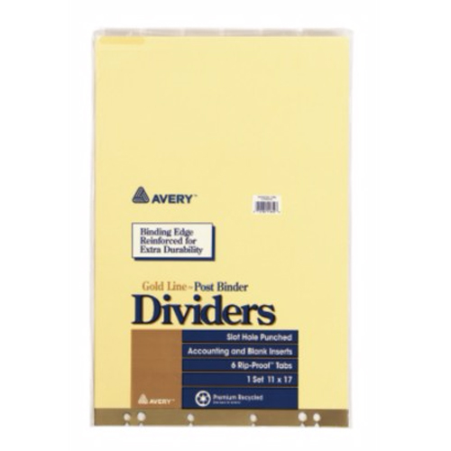 "Avery 11"" x 17"" Insertable Tab Post Binder Dividers (AVE-11644) Image 1"