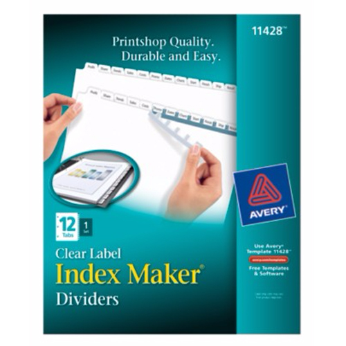 "Avery 12-tab 11"" x 8.5"" Clear Label Dividers 1 set (AVE-11428) Image 1"