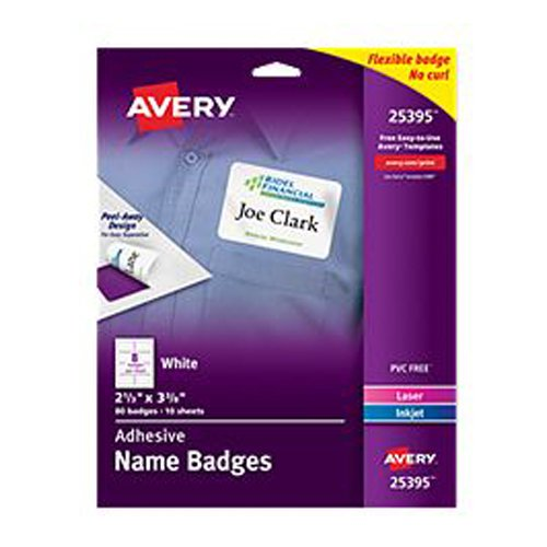 "Avery 2-1/3"" x 3-3/8"" White Flexible Self-Adhesive Name Badge Labels 80pk (AVE-25395) - $6.38 Image 1"
