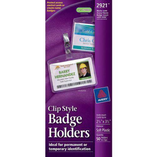 "Avery 2-1/4"" x 3-1/2"" Horizontal Badge Holder with Garment Clips 50pk (AVE-2921) Image 1"