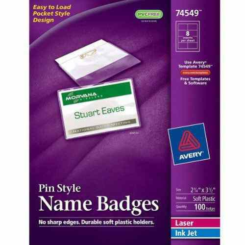 "Avery 2-1/4"" x 3-1/2"" Laser and Inkjet Pin Name Badges 100pk (AVE-74549) Image 1"