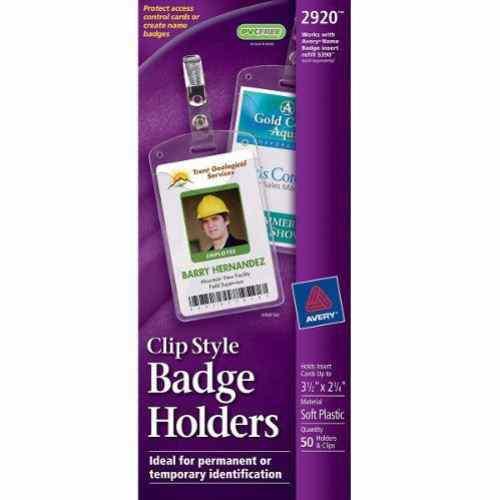 "Avery 2-1/4"" x 3-1/2"" Vertical Badge Holders with Garment Clips 50pk (AVE-2920) Image 1"